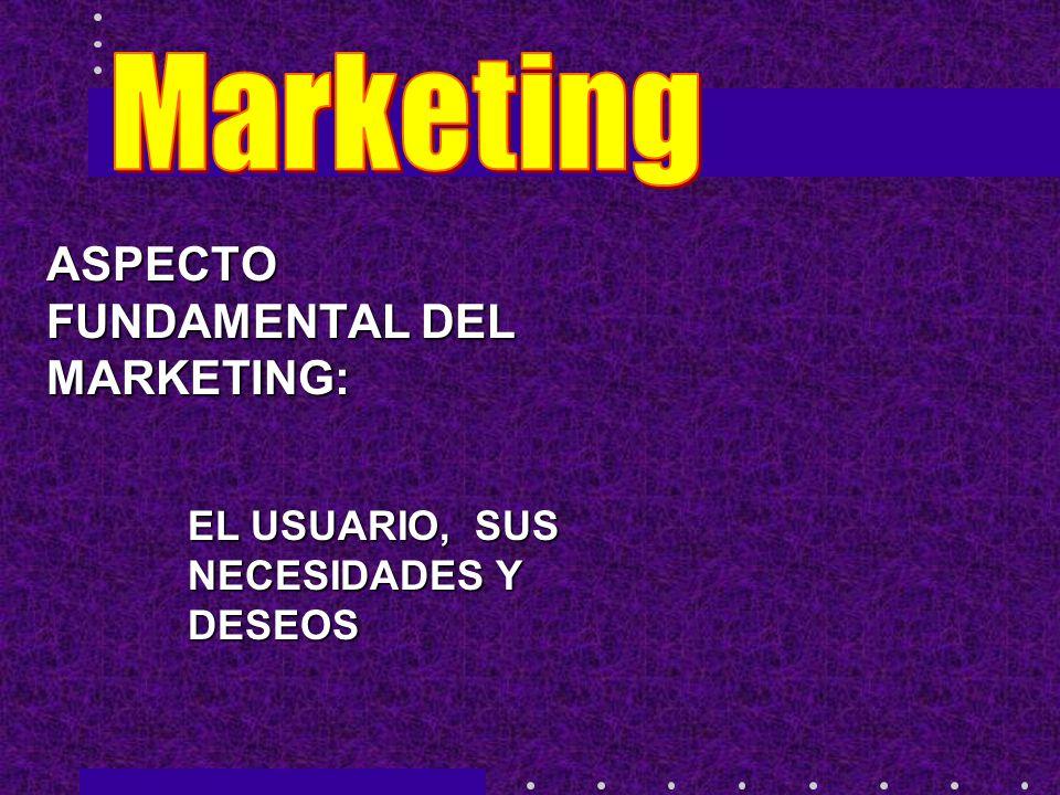 ASPECTO FUNDAMENTAL DEL MARKETING: EL USUARIO, SUS NECESIDADES Y DESEOS