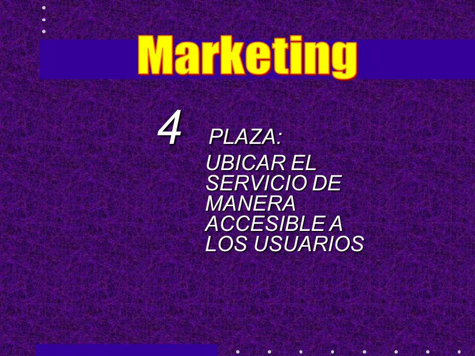 4 PLAZA: UBICAR EL SERVICIO DE MANERA ACCESIBLE A LOS USUARIOS