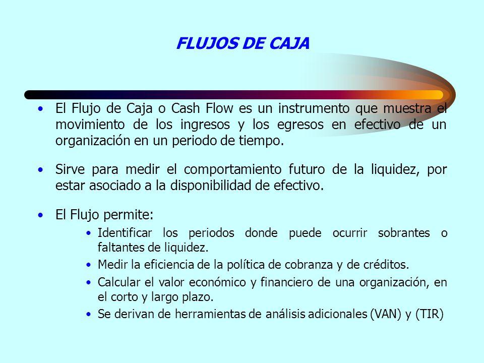 FLUJOS DE CAJA El Flujo de Caja o Cash Flow es un instrumento que muestra el movimiento de los ingresos y los egresos en efectivo de un organización e