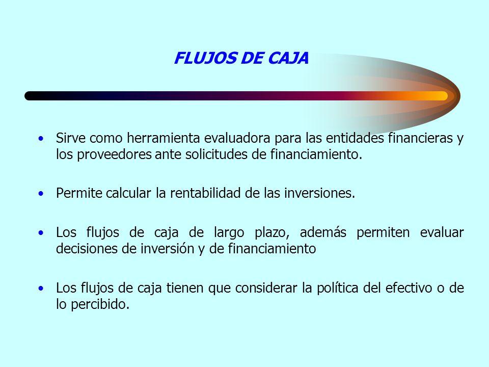 FLUJOS DE CAJA Sirve como herramienta evaluadora para las entidades financieras y los proveedores ante solicitudes de financiamiento. Permite calcular