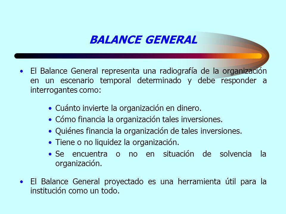 BALANCE GENERAL El Balance General representa una radiografía de la organización en un escenario temporal determinado y debe responder a interrogantes
