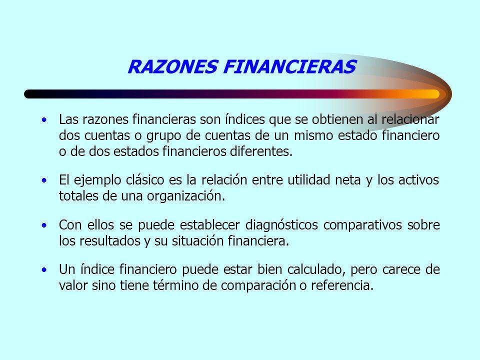 RAZONES FINANCIERAS Las razones financieras son índices que se obtienen al relacionar dos cuentas o grupo de cuentas de un mismo estado financiero o d