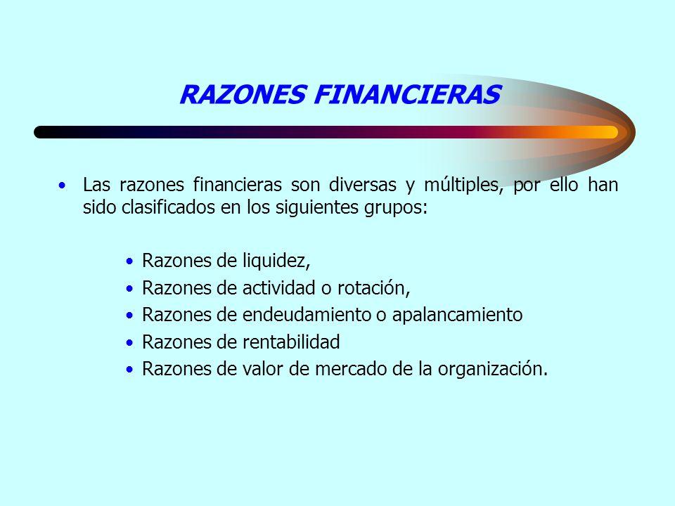 RAZONES FINANCIERAS Las razones financieras son diversas y múltiples, por ello han sido clasificados en los siguientes grupos: Razones de liquidez, Ra