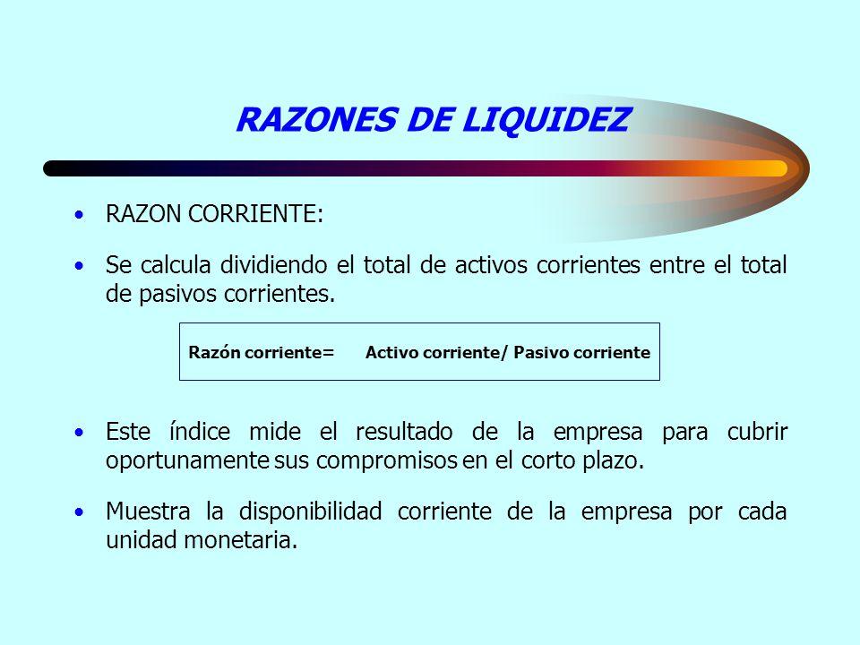RAZONES DE LIQUIDEZ RAZON CORRIENTE: Se calcula dividiendo el total de activos corrientes entre el total de pasivos corrientes. Este índice mide el re