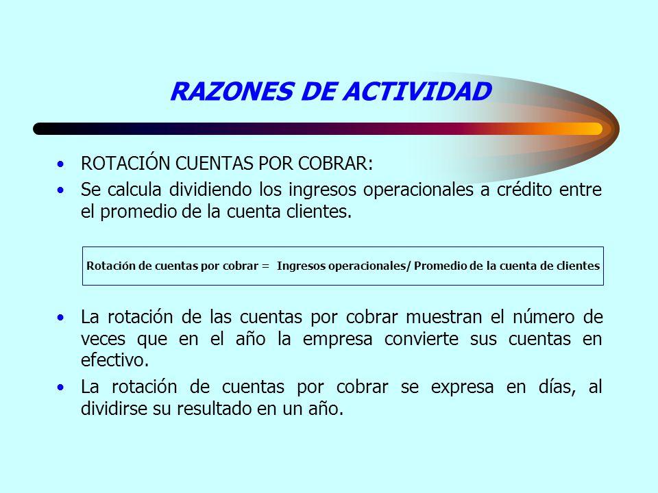 RAZONES DE ACTIVIDAD ROTACIÓN CUENTAS POR COBRAR: Se calcula dividiendo los ingresos operacionales a crédito entre el promedio de la cuenta clientes.