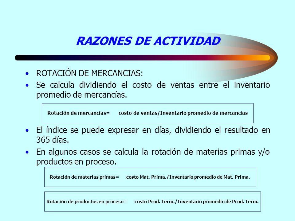 RAZONES DE ACTIVIDAD ROTACIÓN DE MERCANCIAS: Se calcula dividiendo el costo de ventas entre el inventario promedio de mercancías. El índice se puede e