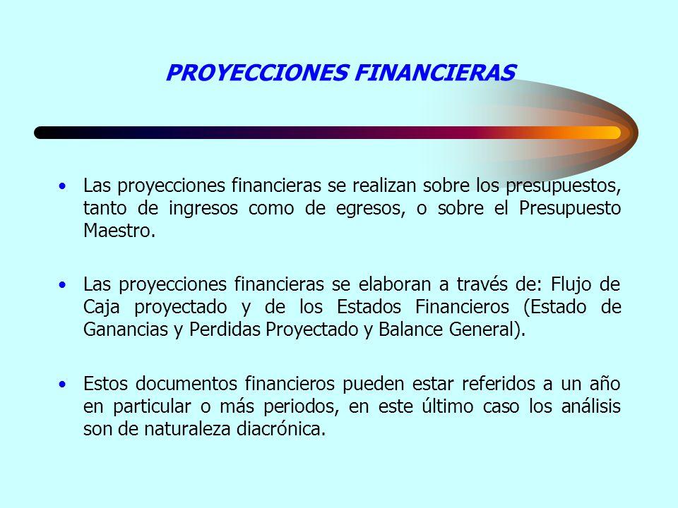 PROYECCIONES FINANCIERAS Las proyecciones financieras se realizan sobre los presupuestos, tanto de ingresos como de egresos, o sobre el Presupuesto Ma