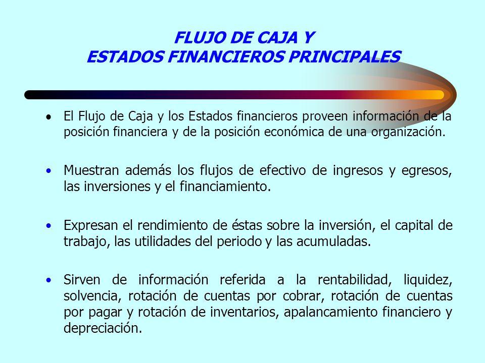 FLUJO DE CAJA Y ESTADOS FINANCIEROS PRINCIPALES El Flujo de Caja y los Estados financieros proveen información de la posición financiera y de la posic