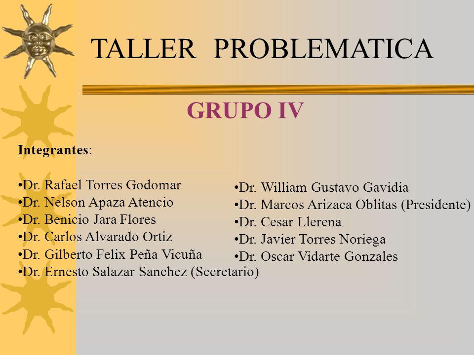 TALLER PROBLEMATICA Integrantes: Dr.Rafael Torres Godomar Dr.