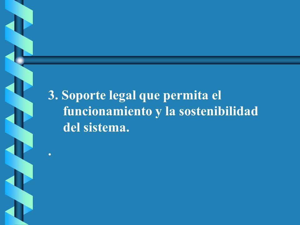 3. Soporte legal que permita el funcionamiento y la sostenibilidad del sistema..