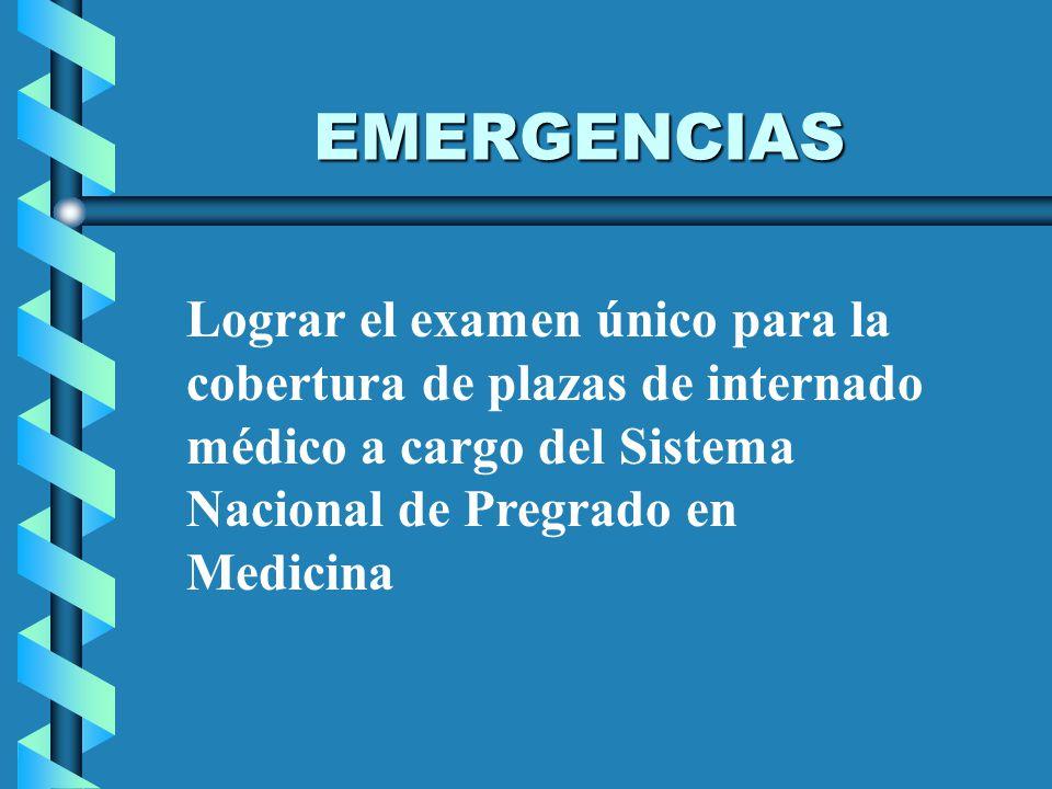 EMERGENCIAS Lograr el examen único para la cobertura de plazas de internado médico a cargo del Sistema Nacional de Pregrado en Medicina