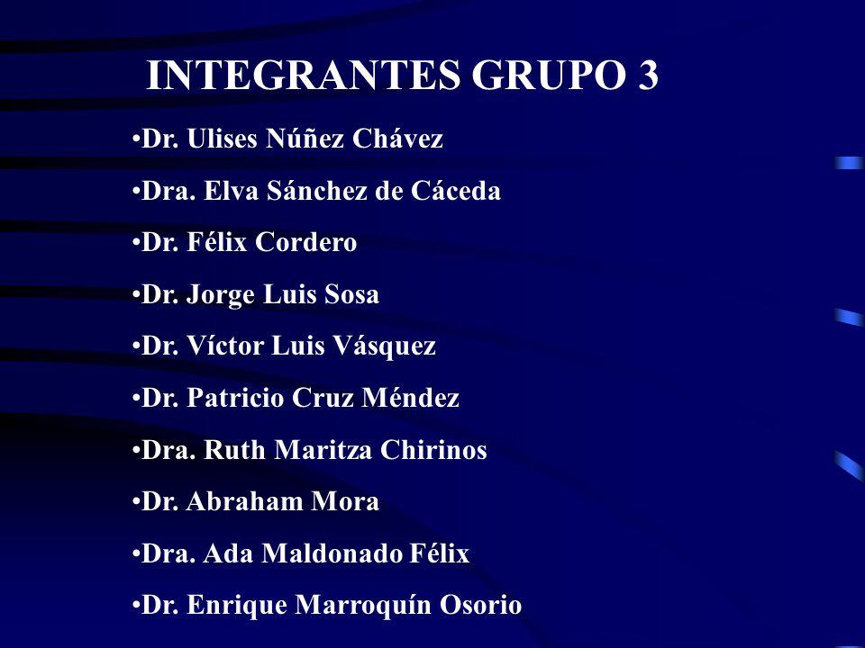 INTEGRANTES GRUPO 3 Dr. Ulises Núñez Chávez Dra. Elva Sánchez de Cáceda Dr.