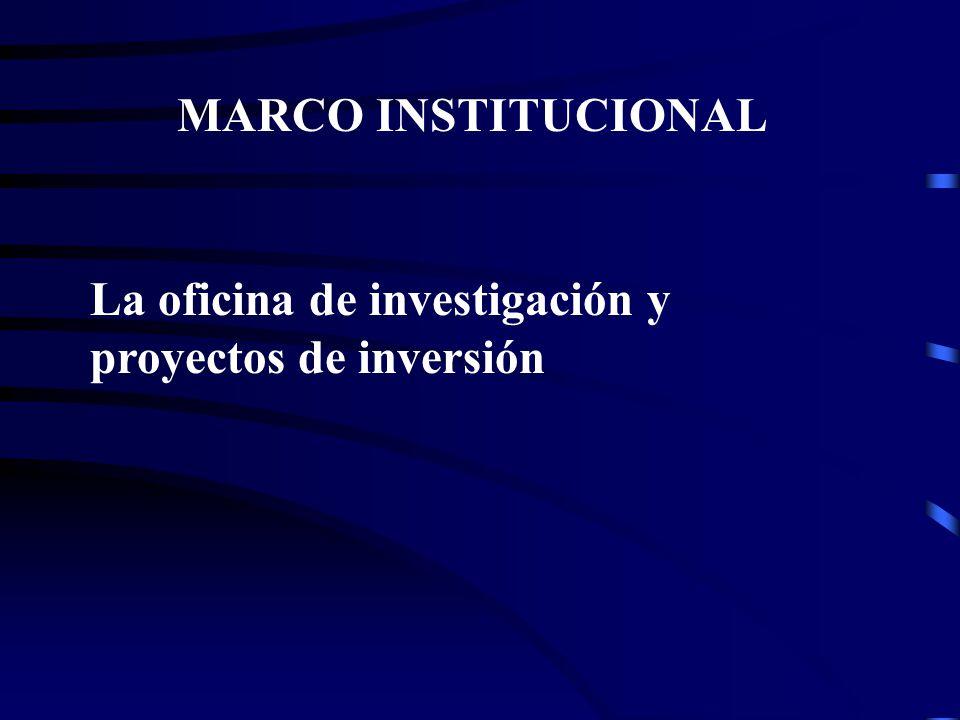 MARCO INSTITUCIONAL La oficina de investigación y proyectos de inversión
