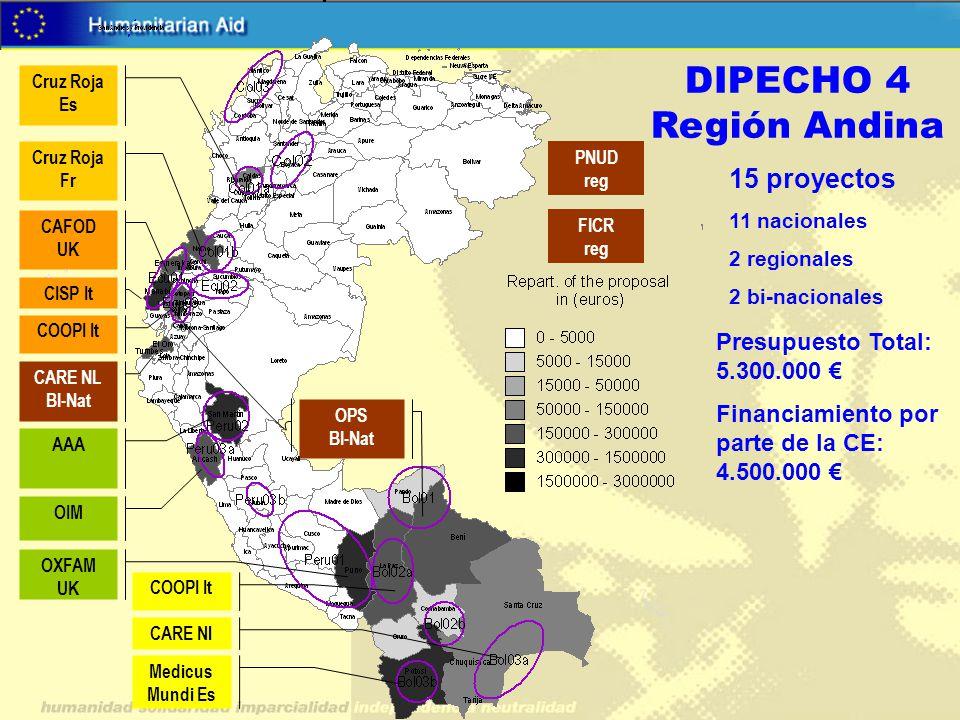 DIPECHO 4 Región Andina 15 proyectos 11 nacionales 2 regionales 2 bi-nacionales Presupuesto Total: 5.300.000 Financiamiento por parte de la CE: 4.500.