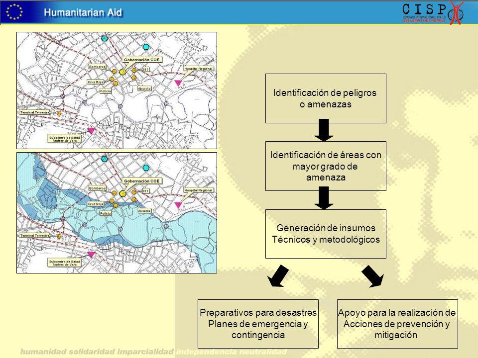 Identificación de peligros o amenazas Identificación de áreas con mayor grado de amenaza Generación de insumos Técnicos y metodológicos Preparativos p
