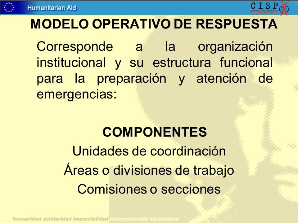Corresponde a la organización institucional y su estructura funcional para la preparación y atención de emergencias: COMPONENTES Unidades de coordinac