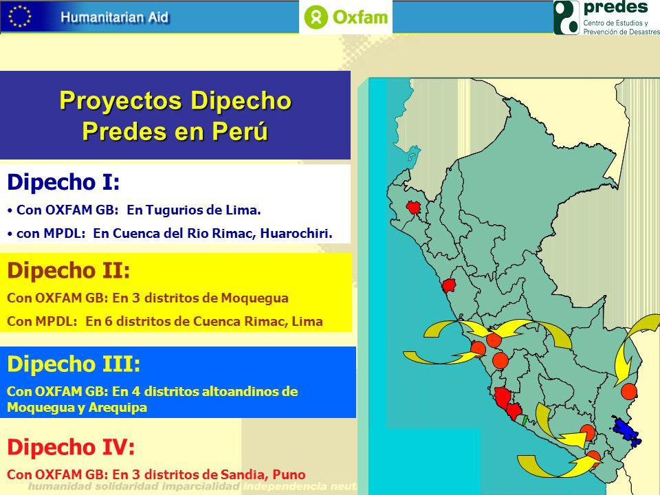 Proyectos Dipecho Predes en Perú Dipecho II: Con OXFAM GB: En 3 distritos de Moquegua Con MPDL: En 6 distritos de Cuenca Rimac, Lima Dipecho III: Con
