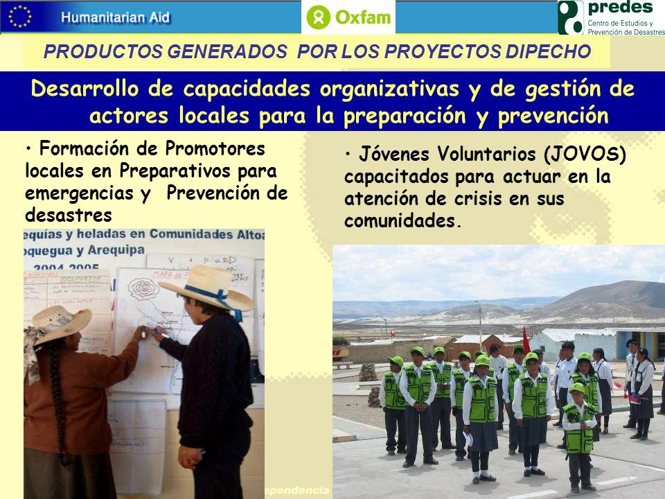 Desarrollo de capacidades organizativas y de gestión de actores locales para la preparación y prevención Formación de Promotores locales en Preparativ