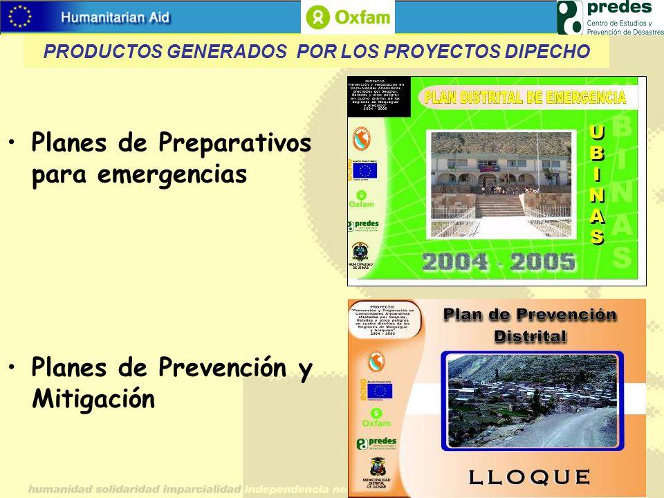 Planes de Preparativos para emergencias Planes de Prevención y Mitigación PRODUCTOS GENERADOS POR LOS PROYECTOS DIPECHO