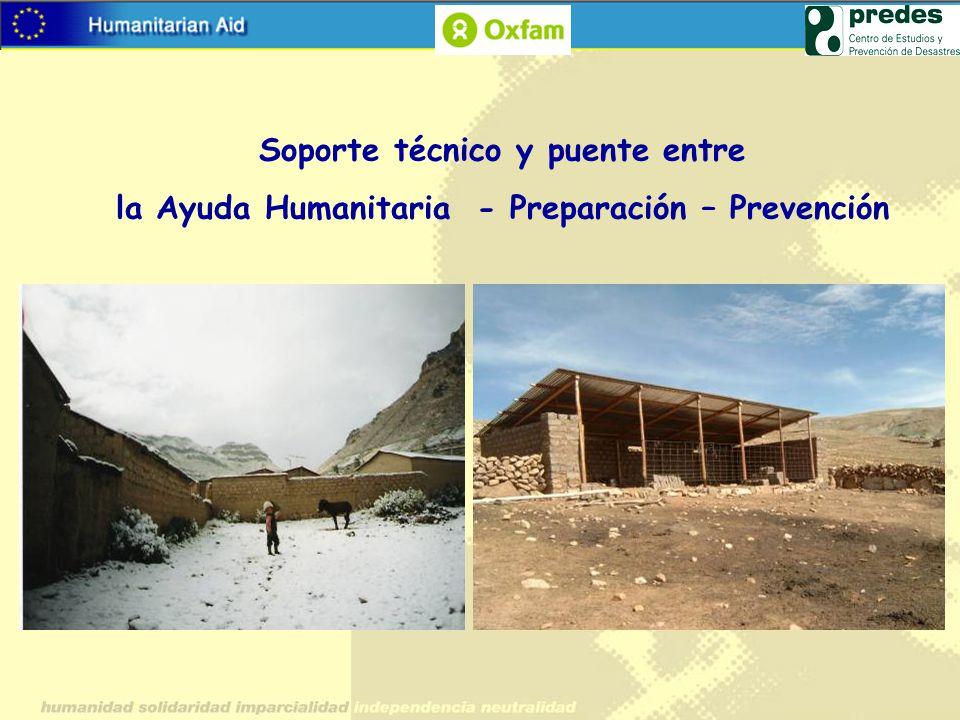 Soporte técnico y puente entre la Ayuda Humanitaria - Preparación – Prevención
