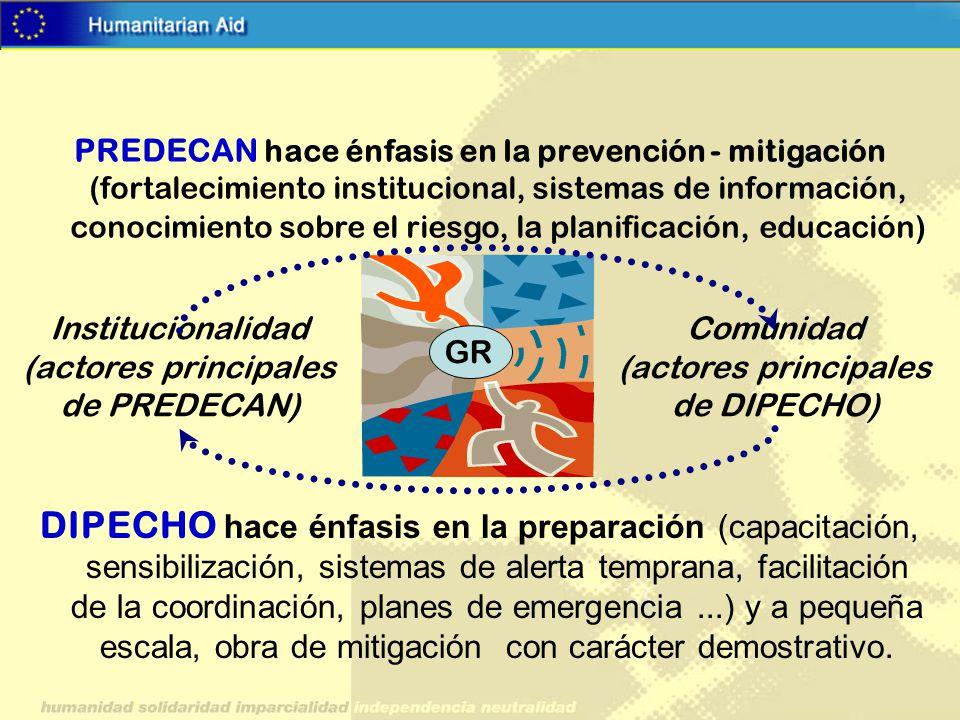 DIPECHO hace énfasis en la preparación (capacitación, sensibilización, sistemas de alerta temprana, facilitación de la coordinación, planes de emergen