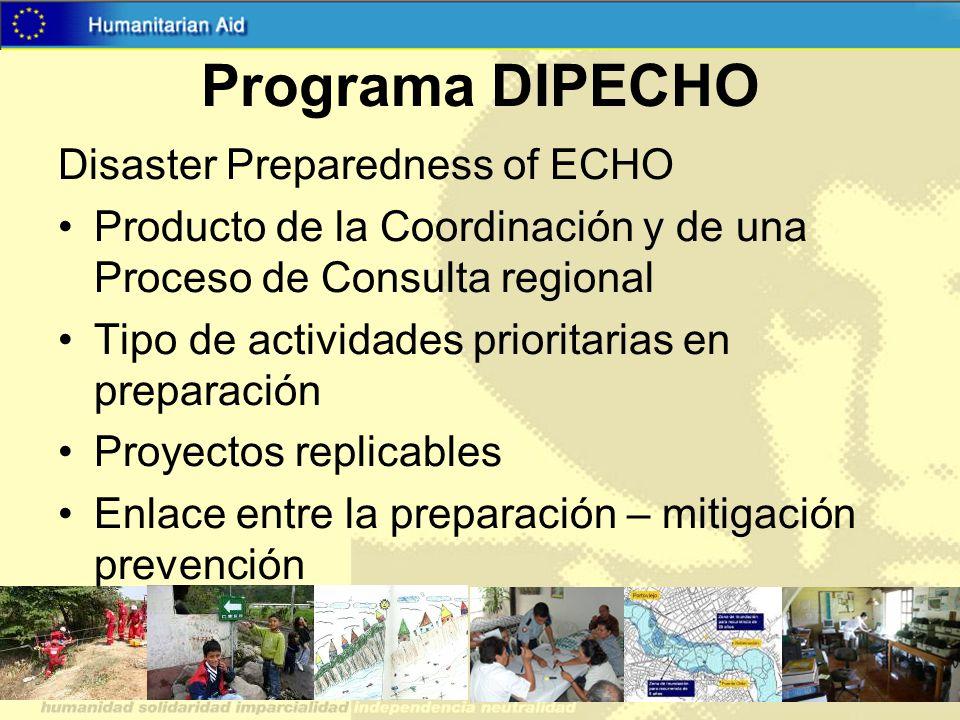 Programa DIPECHO Disaster Preparedness of ECHO Producto de la Coordinación y de una Proceso de Consulta regional Tipo de actividades prioritarias en p