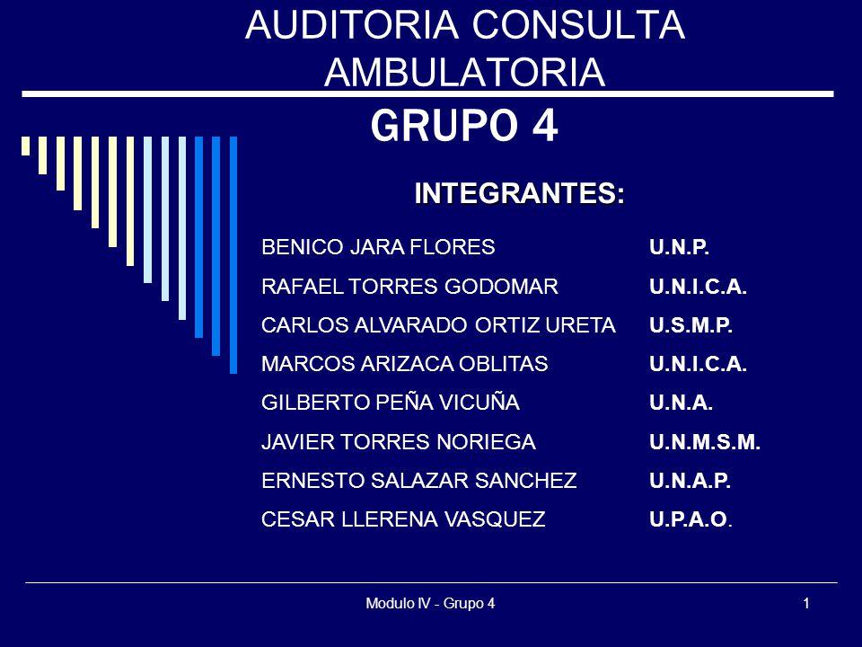 Modulo IV - Grupo 41 AUDITORIA CONSULTA AMBULATORIA GRUPO 4 BENICO JARA FLORESU.N.P. RAFAEL TORRES GODOMARU.N.I.C.A. CARLOS ALVARADO ORTIZ URETAU.S.M.