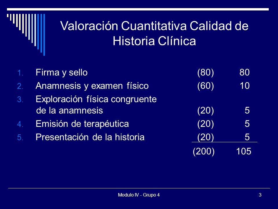 Modulo IV - Grupo 43 1. Firma y sello(80)80 2. Anamnesis y examen físico(60)10 3.