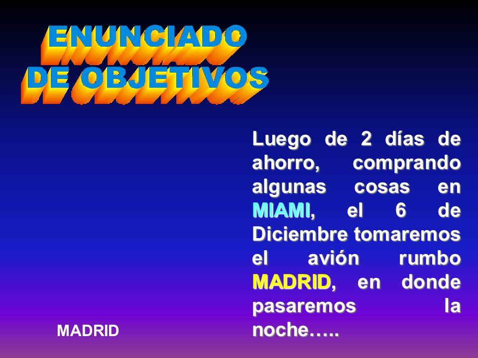 Luego de 2 días de ahorro, comprando algunas cosas en MIAMI, el 6 de Diciembre tomaremos el avión rumbo MADRID, en donde pasaremos la noche….. MADRID