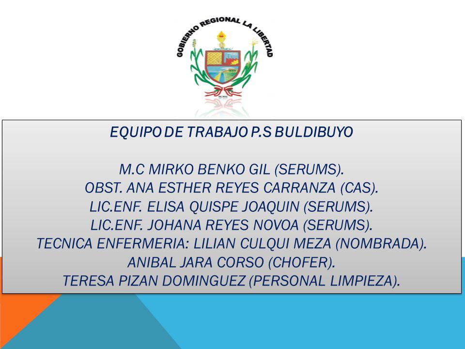 EQUIPO DE TRABAJO P.S BULDIBUYO M.C MIRKO BENKO GIL (SERUMS). OBST. ANA ESTHER REYES CARRANZA (CAS). LIC.ENF. ELISA QUISPE JOAQUIN (SERUMS). LIC.ENF.