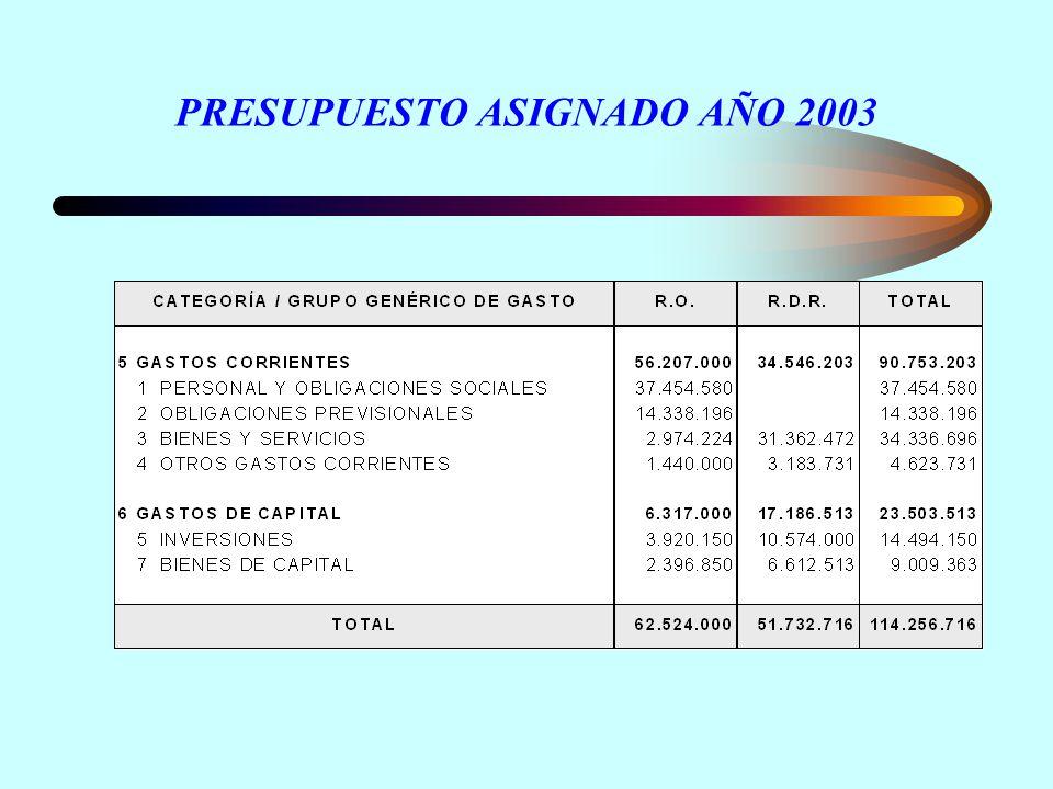 PRESUPUESTO ASIGNADO AÑO 2003