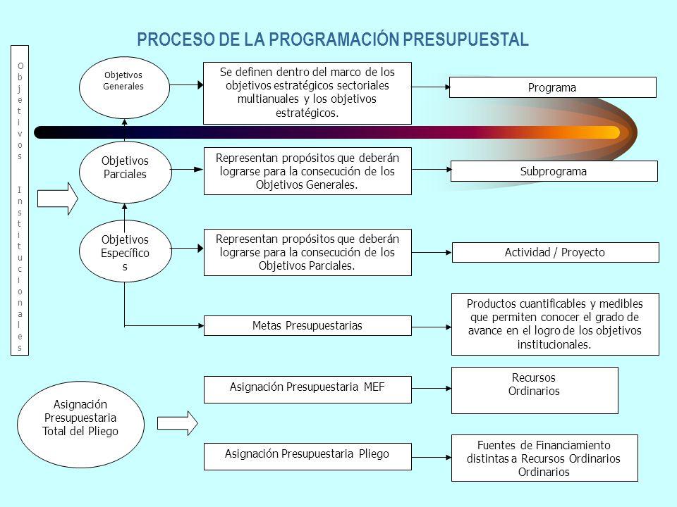 Objetivos Generales Objetivos Parciales Objetivos Específico s Se definen dentro del marco de los objetivos estratégicos sectoriales multianuales y los objetivos estratégicos.