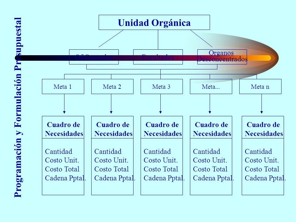 Unidad Orgánica Of.CentralesFacultades Organos Desconcentrados Meta 1Meta 3Meta...Meta nMeta 2 Cuadro de Necesidades Cantidad Costo Unit.