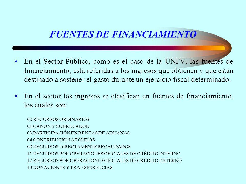 FUENTES DE FINANCIAMIENTO En el Sector Público, como es el caso de la UNFV, las fuentes de financiamiento, está referidas a los ingresos que obtienen y que están destinado a sostener el gasto durante un ejercicio fiscal determinado.