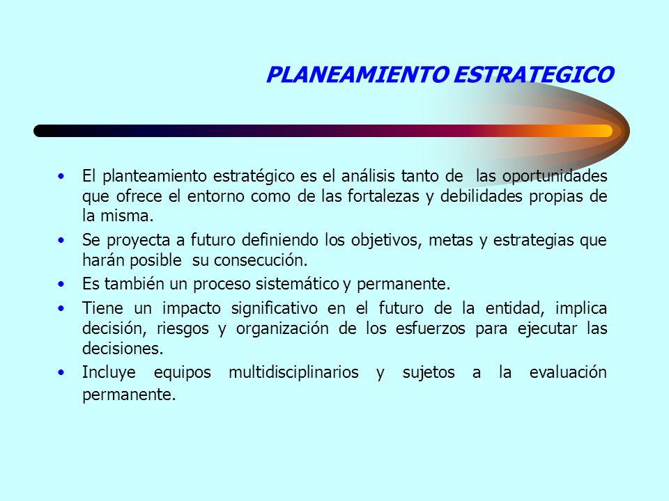 PLANEAMIENTO ESTRATEGICO El planteamiento estratégico es el análisis tanto de las oportunidades que ofrece el entorno como de las fortalezas y debilidades propias de la misma.