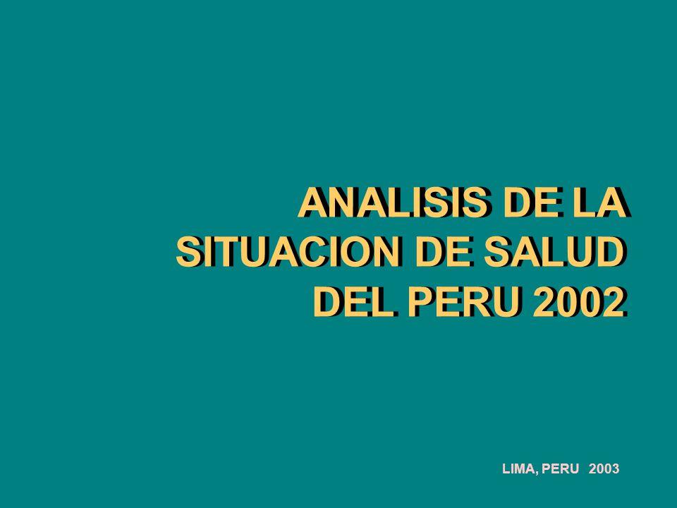 Profesionales de salud por departamentos en el Perú Fuente: MINSA., 2000*, 1996** MédicosEnfermeros Odontólogos 3.5 - 4.5 4.6 - 6.7 6.8 - 8.7 8.8 -12.5 12.6-21.9 Estratificación por médicos* x 10,000 Hab.