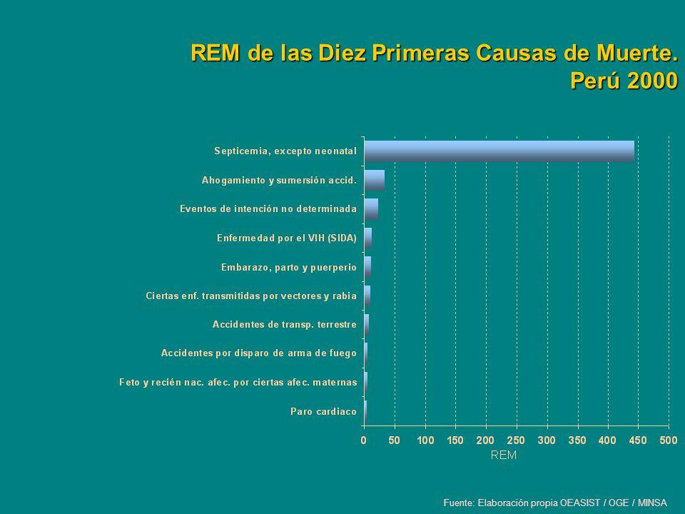 REM de las Diez Primeras Causas de Muerte. Perú 2000 Fuente: Elaboración propia OEASIST / OGE / MINSA