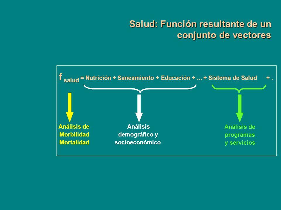 Salud: Función resultante de un conjunto de vectores f salud = Nutrición + Saneamiento + Educación +... + Sistema de Salud+. Análisis de Morbilidad Mo