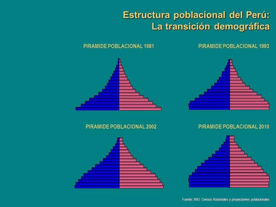 Estructura poblacional del Perú: La transición demográfica PIRAMIDE POBLACIONAL 1981PIRAMIDE POBLACIONAL 1993 PIRAMIDE POBLACIONAL 2002PIRAMIDE POBLAC