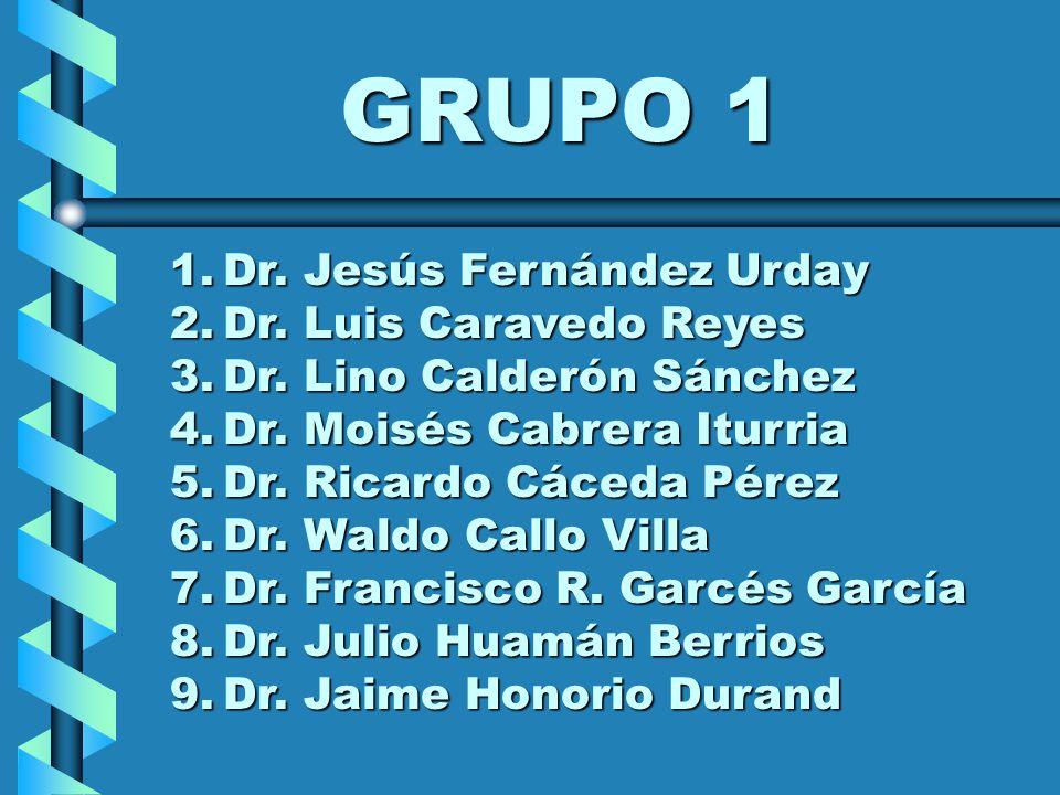 GRUPO 1 1.Dr. Jesús Fernández Urday 2.Dr. Luis Caravedo Reyes 3.Dr. Lino Calderón Sánchez 4.Dr. Moisés Cabrera Iturria 5.Dr. Ricardo Cáceda Pérez 6.Dr