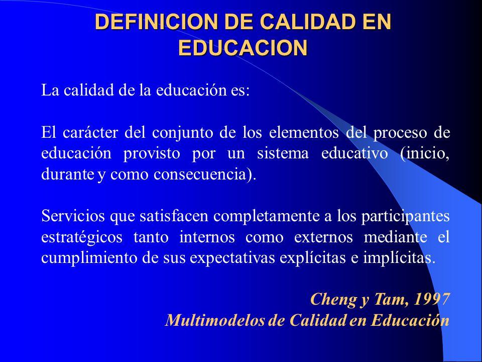 DEFINICION DE CALIDAD EN EDUCACION La calidad de la educación es: El carácter del conjunto de los elementos del proceso de educación provisto por un sistema educativo (inicio, durante y como consecuencia).
