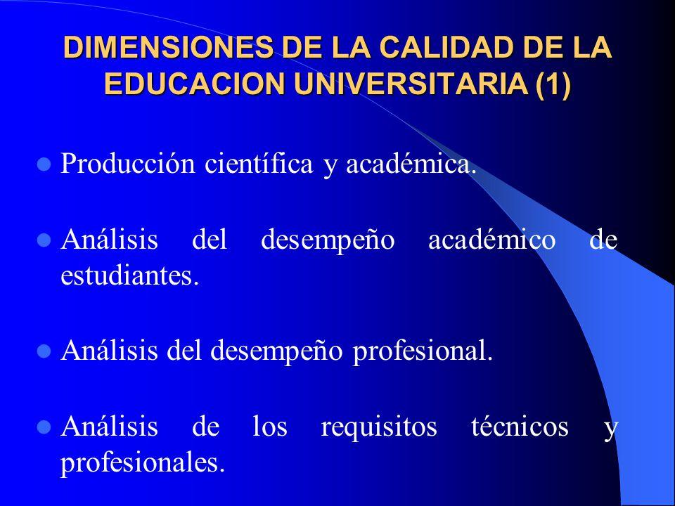 DIMENSIONES DE LA CALIDAD DE LA EDUCACION UNIVERSITARIA (1) Producción científica y académica.