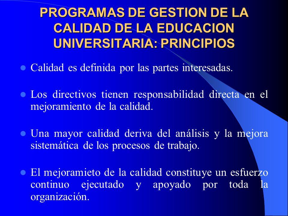 PROGRAMAS DE GESTION DE LA CALIDAD DE LA EDUCACION UNIVERSITARIA: PRINCIPIOS Calidad es definida por las partes interesadas.