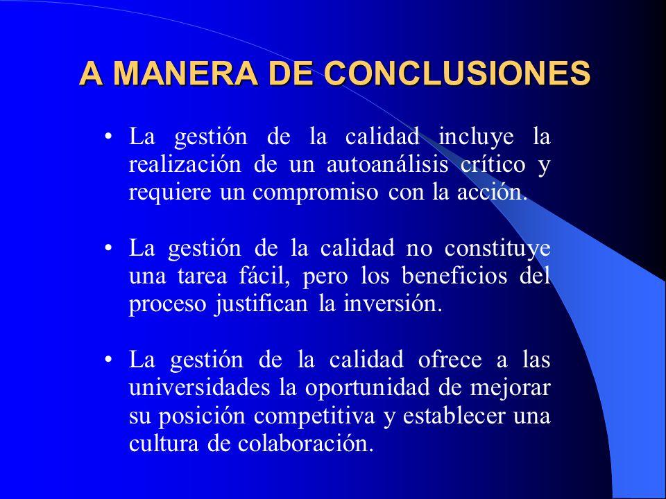 A MANERA DE CONCLUSIONES La gestión de la calidad incluye la realización de un autoanálisis crítico y requiere un compromiso con la acción.
