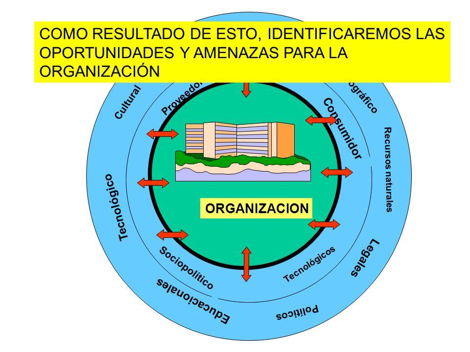 Cultural Tecnológico Económico Sociológico Demográfico Recursos naturales Legales Políticos Educacionales Tecnológicos Sociopolítico Proveedores Consumidor ORGANIZACION COMO RESULTADO DE ESTO, IDENTIFICAREMOS LAS OPORTUNIDADES Y AMENAZAS PARA LA ORGANIZACIÓN