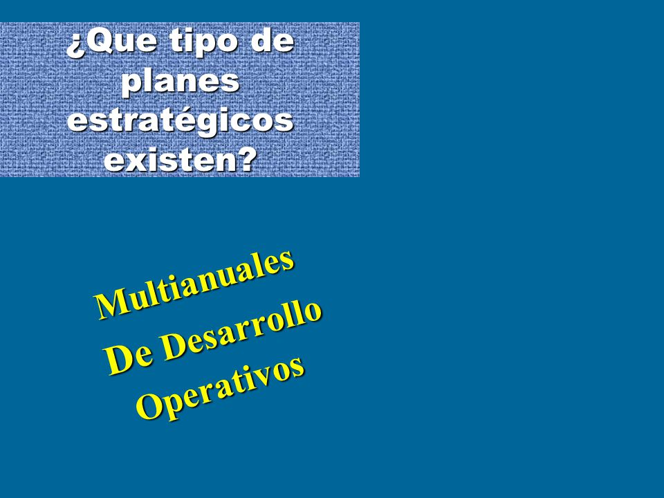 ¿Que tipo de planes estratégicos existen? Multianuales De Desarrollo Operativos