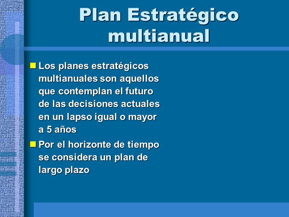 Plan Estratégico multianual Los planes estratégicos multianuales son aquellos que contemplan el futuro de las decisiones actuales en un lapso igual o