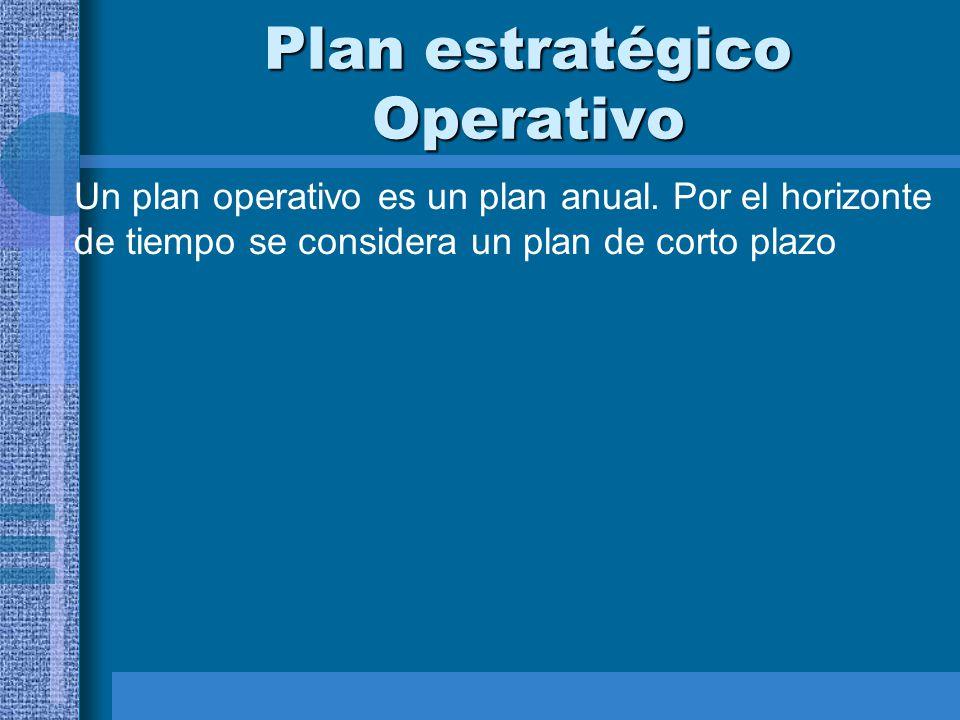 Plan estratégico Operativo Un plan operativo es un plan anual. Por el horizonte de tiempo se considera un plan de corto plazo