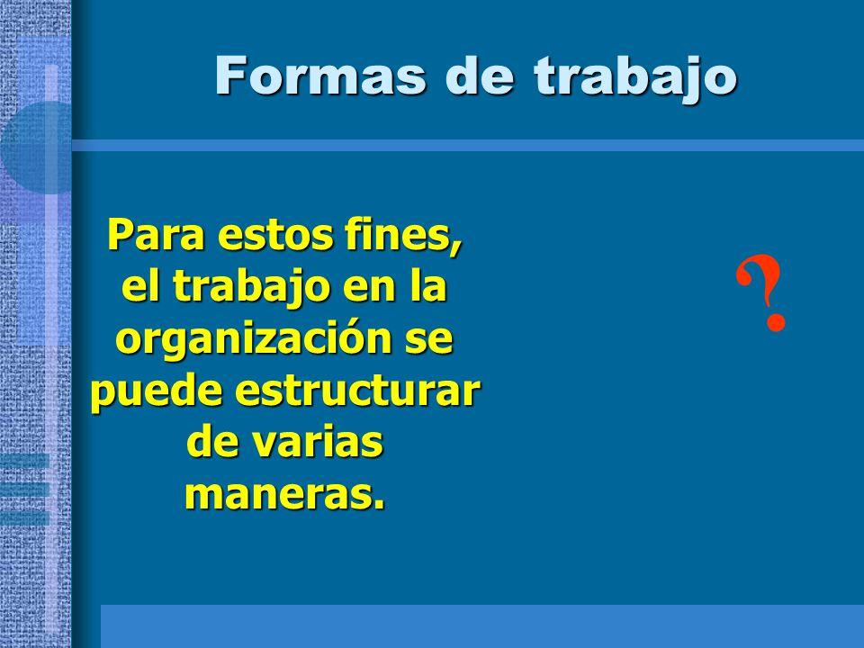 Formas de trabajo Para estos fines, el trabajo en la organización se puede estructurar de varias maneras. ?