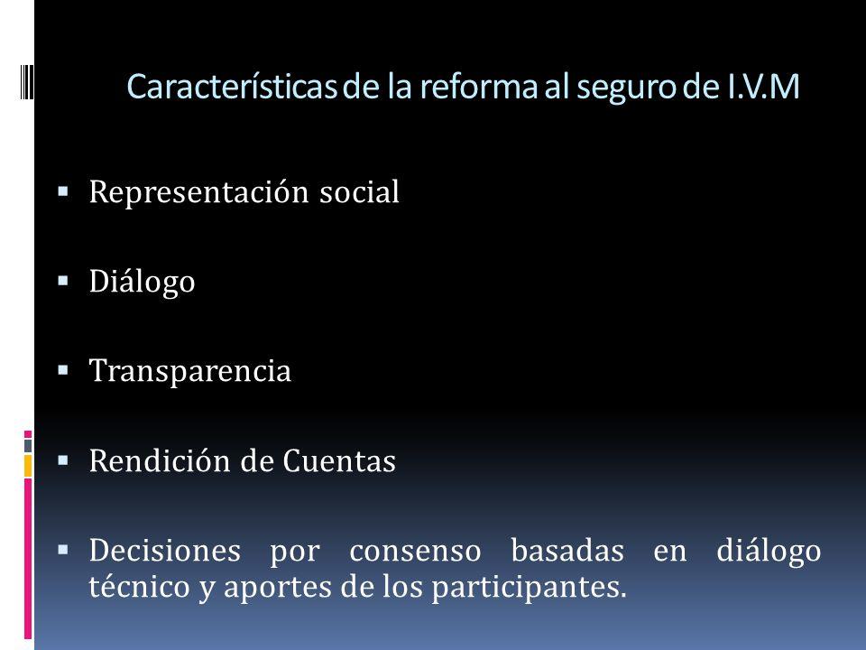 Características de la reforma al seguro de I.V.M Representación social Diálogo Transparencia Rendición de Cuentas Decisiones por consenso basadas en d